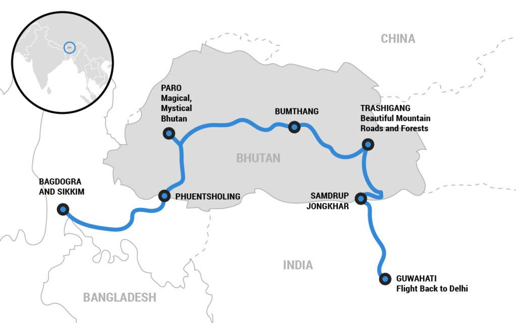 Bhutan motorcycle tour itinerary map