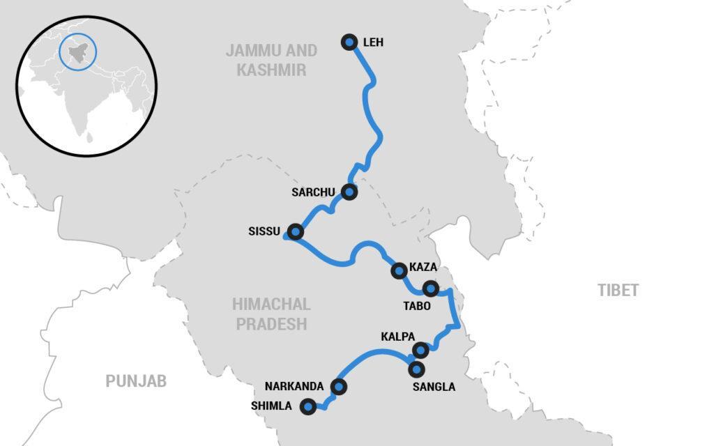 Himalaya motorcycle tour map