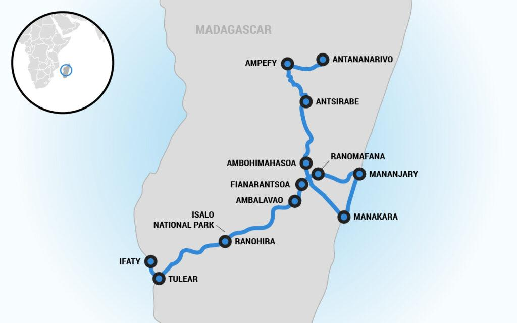 madagascar motorcycle tour map